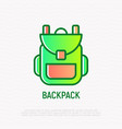 backpack thin line icon vector image
