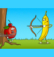 banana bow and apple pop art vector image vector image