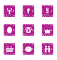 beer biz icons set grunge style vector image