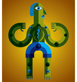 Bizarre creature cubism graphic modern pict vector image vector image