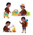 boy tourist schoolboy picnic summer rest vector image vector image