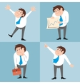 Businessman character poses set vector image vector image