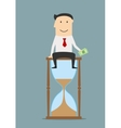 Businessman sitting on a hourglass with money vector image