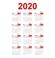 calendar with curled ribbons 2020 year vector image