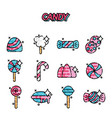 candy cartoon concept icons vector image vector image