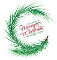 christmas round frame fir branch with text vector image vector image