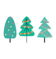 christmas tree decorated with toys set vector image