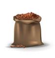 coffee beans in brown burlap bag vector image vector image