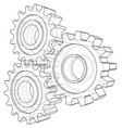 cogs and gears rendering of 3d wire-frame vector image vector image