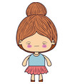 colorful silhouette of kawaii little girl with vector image vector image