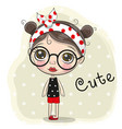 cute cartoon girl with a glasses vector image vector image