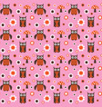 cute owl and mushroom seamless pink orange pattern vector image