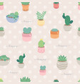 cute pastel minimal cactus and succulent in pot vector image vector image