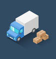 delivery truck and cardboard packaging isometric vector image
