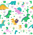 dinosaur pattern cute dino doodle pattern vector image vector image