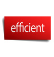 efficient red square isolated paper sign on white vector image vector image