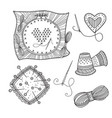 embroidery set with tools and thread in boho style vector image