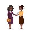 ethnic business women shaking hands vector image