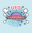 fashion ufo with message patch and stars vector image