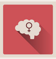 female brain on red background with shade vector image vector image