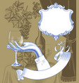 female hand holding a wineglass grapes curtain vector image vector image