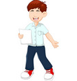 funny boy cartoon reading poutry with standing vector image vector image
