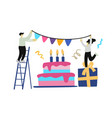 happy birthday with gift and cake with people vector image vector image