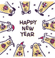 happy new year pig greeting card funny pigs with vector image vector image