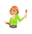 Housewife Chatting On The Smartphone While Cooking vector image vector image