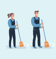 janitor sweeping the fallen leaves vector image vector image