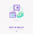 keep currency in virtual wallet concept vector image vector image