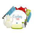 knives spatula and teapots kitchen utensil vector image