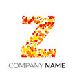 letter z logo with orange yellow red particles vector image vector image