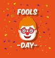 man face with funny clown mask glasses fools day vector image