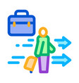 man with business suitcase icon outline vector image vector image