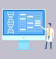 medical report dna helix structure on monitor vector image