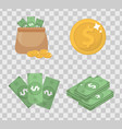 money and coin set icons flat style isolated on vector image vector image