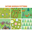 Nature seamless patterns set with tree flowers vector image vector image