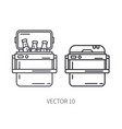 retro furniture compact picnic refrigerator line vector image