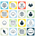 set of 16 world wide web icons includes wifi