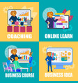 set of colorful icons with lion man business coach vector image