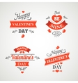 Set of happy valentine day hand lettering vector image