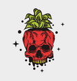 skull like a pineapple vector image vector image