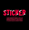 sticker style font vector image vector image
