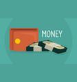 wallet with bills dollars vector image