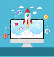 web start up flat style rocket flight promotion vector image