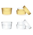 white and golden cosmetics containers vector image vector image