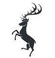 wild stag or deer in motion silhouette icon vector image