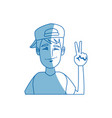 young man character portrait gesturing funny vector image