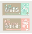 My very first birthday greeting cards for boy and vector image